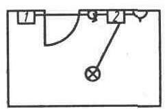 Схема проводки на плане комнаты. 1 — щиток со счетчиком и защитой, 2 — коробка ответвительная