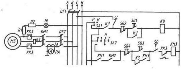 Часть принципиальной схемы электроустановки (перечень элементов схемы приведен в прил. 5)