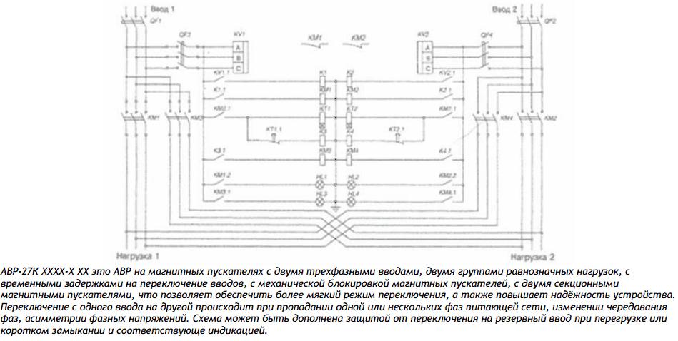 Схема принципиальная блока АВР